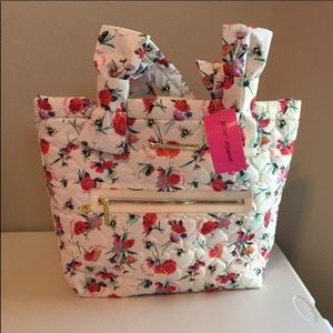 Betsey Johnson Floral Nylon Tote with Snap Closure